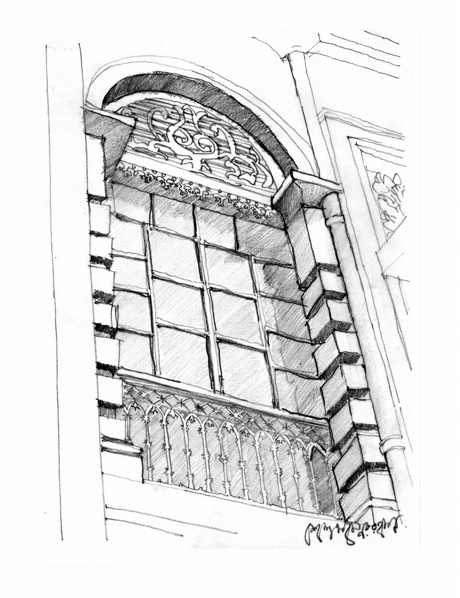 Sketch window of a old house at paridas lane dhaka