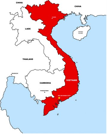 Ho Chi minh City Vietnam map. The 657-hectare Thu Thiem peninsula lies at